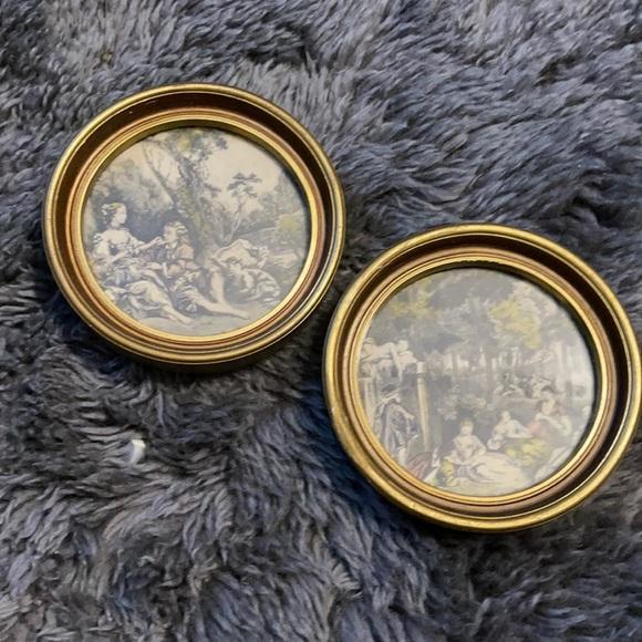 Vintage victoria gold framed round pictures